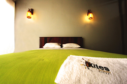 The golden hues of the Kites Mancora hand made beds echo the jungle tone of eastern Peru