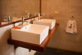the bathrooms beautiful natural design highlight the Kites asthetic